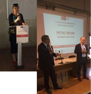 A sinistra: Maria Vittoria Marini Clarelli – Sovrintendente capitolina ai beni culturali. Sulla destra Maurizio Canetta, presidente CRI e il professor Pietro Trifone