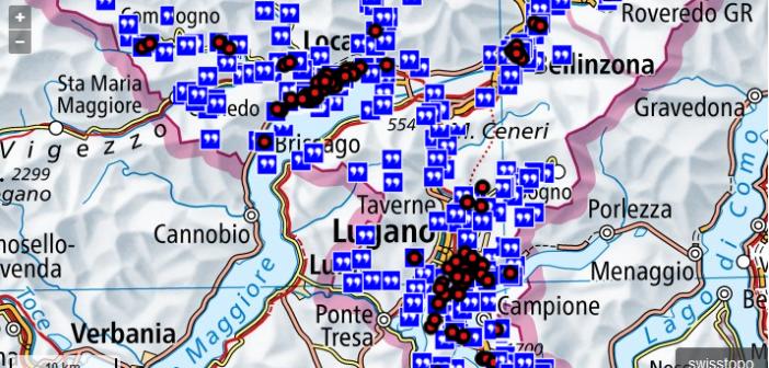 La mappa della Guida letteraria della svizzera italiana